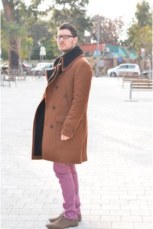 brown Zara coat - light brown Zara shoes - navy Topman shirt