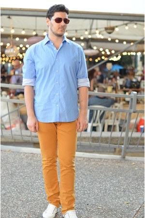 light orange Zara jeans - sky blue Massimo Dutti shirt
