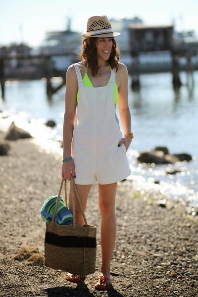 orange flip flops unisa shoes - tan fedora Jcrew hat - white Zara romper