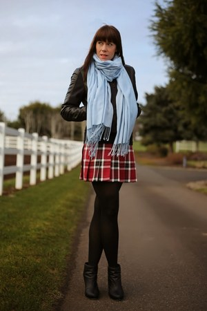 black leather Topshop jacket - sky blue square Nordstrom scarf