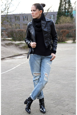 black Zara boots - sky blue Zara jeans - black Choies jacket - black H&M shirt