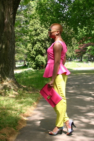 hot pink bag - hot pink top - pumps - lime green pants