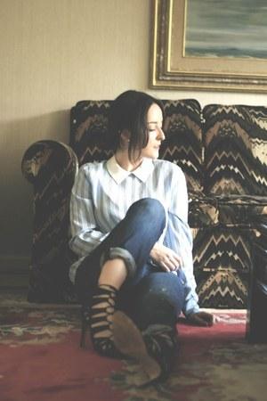 silk Equipment shirt - boyfriend jeans Gap jeans - Zara heels