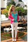 Hot-pink-zara-blazer-louis-vuitton-bag-turquoise-blue-charlotte-russe-top