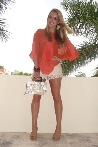 carrot orange see-through Givenchy Paris top - off white capiz shell bag