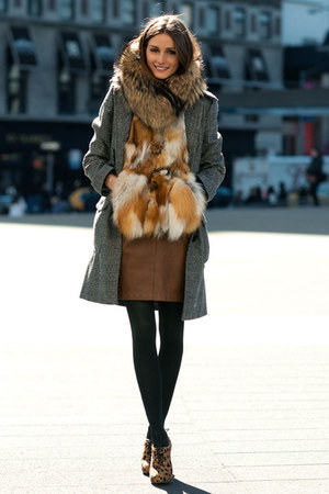 light brown leopard-print boots - gray coat - black tights