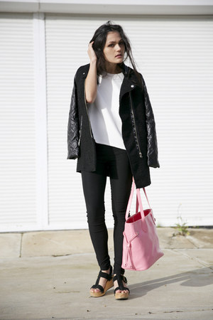 textured asos top - contrast Sheinside coat - Niclaire bag