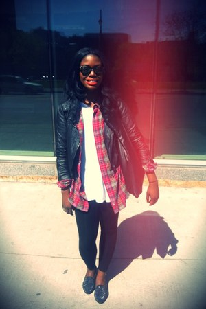 Ray Ban glasses - studded Urban Outfitters jacket - oversized H&M shirt