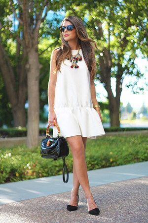 white faux leather H&M dress - black suede banana republic shoes