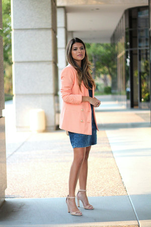 denim dress Topshop dress - peach Forever 21 blazer - ankle strap Zara sandals