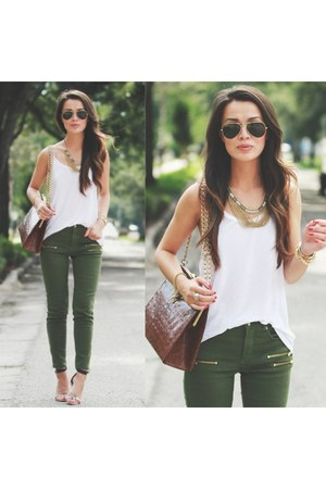 olive H&M jeans - alligator vintage bag - white tank H&M top