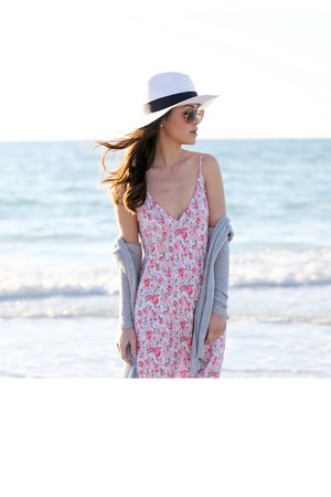 pink floral print dress - heather gray sweater