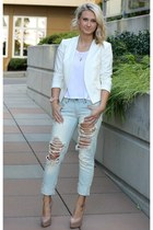 white blazer Forever 21 jacket - Love Culture jeans - white tee Zara shirt