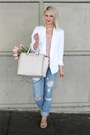Relaxed-denim-zara-jeans-white-blazer-frenchi-jacket-lush-shirt