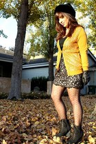 gold JCrew sweater - black ann taylor skirt - black Urban Outfitters shoes - bla
