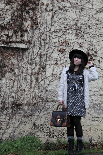 black Wasteland dress - white Urban Outfitters sweater - black Dooney &amp; Bourke p