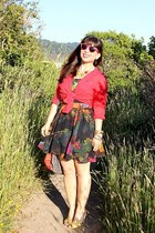 black H&M dress - black DIY bag - red Urban Outfitters sunglasses - red Urban Ou