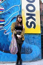 black H&M dress - yellow Urban Outfitters sweater - bubble gum Baksheesh bag - a