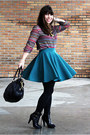 Black-charles-david-shoes-black-coach-bag-teal-h-m-skirt