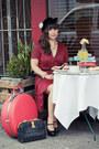 Black-vince-camuto-shoes-red-vintage-dress-black-vintage-hat