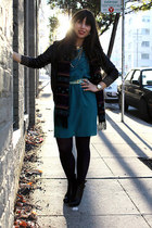 LYLIF scarf - black Charles David shoes - Anthropologie dress - Theory jacket