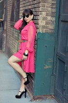 hot pink vintage dress - black Vince Camuto shoes