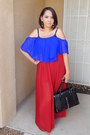 Black-shoedazzle-bag-red-forever-21-skirt-blue-charlotte-russe-top
