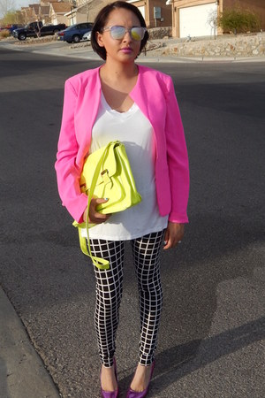 hot pink Charlotte Russe jacket - black Forever 21 leggings