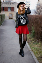 H&M hat - Stradivarius boots - romwe jacket - Sheinsidecom blouse - Zara skirt
