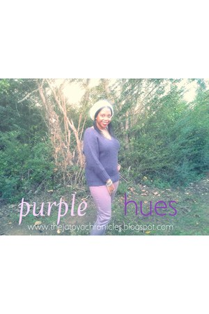 puce fuzzy American Eagle sweater - light purple colored Mossimo pants