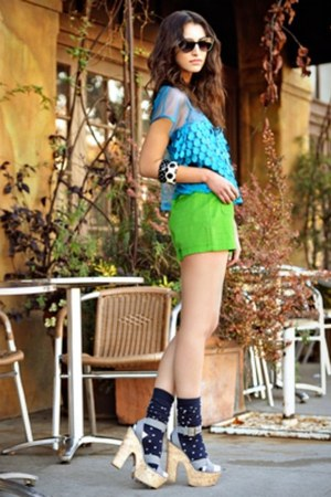 chartreuse H&amp;M shorts - turquoise blue satin Forever 21 top - open toe pumps