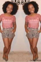 Forever 21 shorts - Forever 21 blouse - leopard print Forever 21 flats