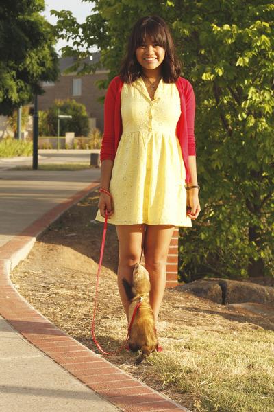 red gold block heel asos shoes - yellow brodarie Valley Girl dress