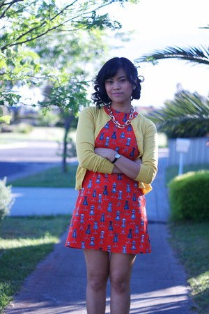 ruby red made it myself dress - mustard Cocolatte cardigan