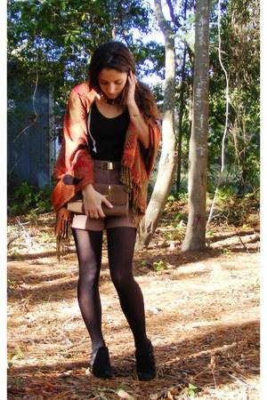 brick red pashmina scarf - light brown vintage purse - light brown H&M shorts
