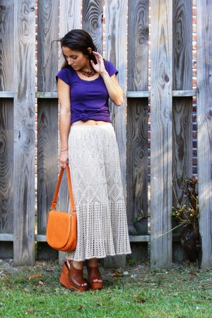 tan crochet vintage skirt - carrot orange vintage purse