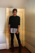 vintage from great grandmother sweater - second hand shirt - Ebay leggings - Ald