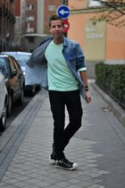 aquamarine mint Swell sweater - blue denim Zara shirt - Zara pants