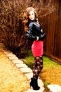 Black-jacket-red-dress-black-stockings-black-loubs-shoes-accessories-b