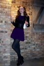 Purple-dress-black-stockings-black-shoes-black-belt-white-chanel-purse