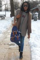 black Cheap Monday sunglasses - Zara jeans - blue Primark bag