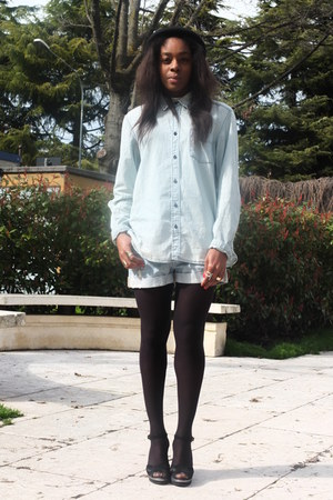 sky blue denim H&M shirt - sky blue denim H&M shorts - black Pennyblack sandals