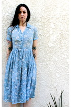 1940s Vintage Sheer Betty's Baby Blue Full Dress