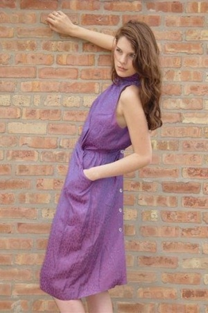 Vintage Purple Leopard Print Halter Dress