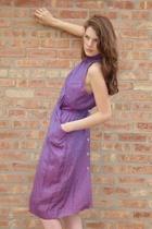 Vintage Purple Leopard Print Halter Dress