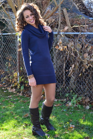 navy sweater dress H&M dress - dark brown leather boots Ralph Lauren boots