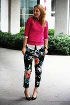 lime green floral print H&M pants - hot pink Zara sweater
