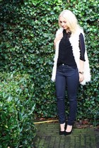 gray COS jeans - black sheer H&M blouse - off white faux fur Monki vest