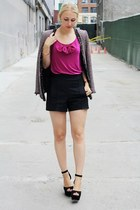 magenta multi-color Zara jacket - black Zara shorts - pink bow Vero Moda top