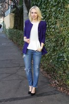 deep purple escada jacket - white peplum Zara top - black shoemint heels